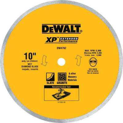 DeWalt Extended Performance 10 In. Continuous Rim Dry/Wet Cut Tile Diamond Blade