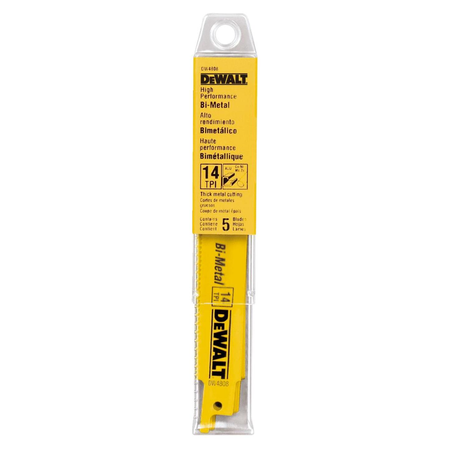 DeWalt 6 In. 14 TPI Thick Metal Reciprocating Saw Blade (5-Pack) Image 2
