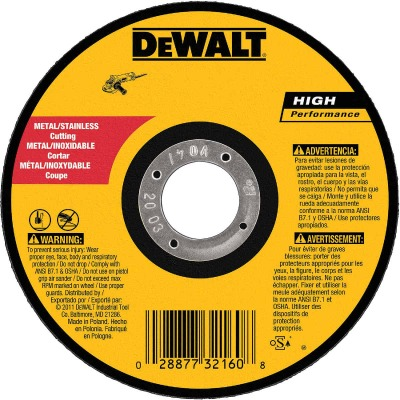 DeWalt HP Type 1 5 In. x 0.045 In. x 7/8 In. Metal/Stainless Cut-Off Wheel