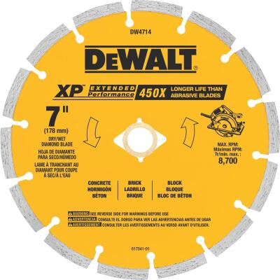 DeWalt Extended Performance 7 In. Segmented Rim Dry/Wet Cut Diamond Blade