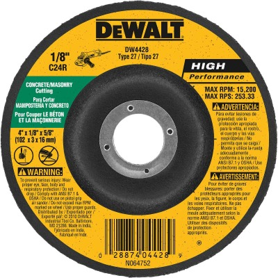 DeWalt HP Type 27 4 In. x 1/8 In. x 5/8 In. Masonry Cut-Off Wheel
