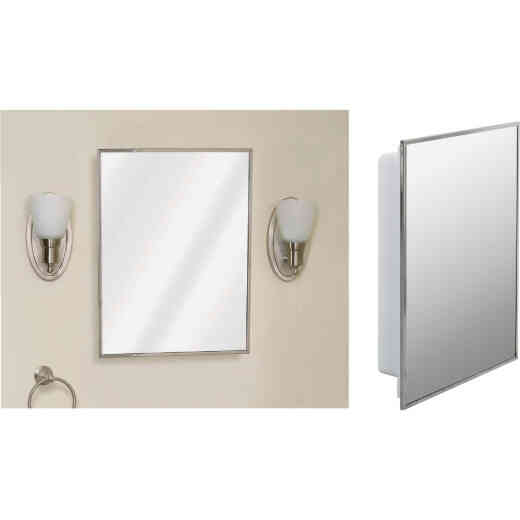 Zenith Stainless Steel 16-1/8 In. W x 20-1/8 In. H x 3-1/4 In. D Single Mirror Surface/Recess Mount Medicine Cabinet