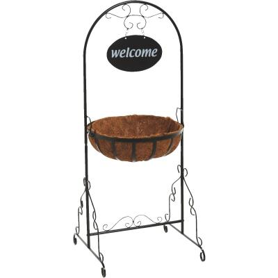 Best Garden Black Rust Resistant Steel 43 In. H. Welcome Plant Stand