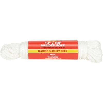 Do it 1/4 In. x 100 Ft. White Solid Braided Polypropylene Packaged Rope